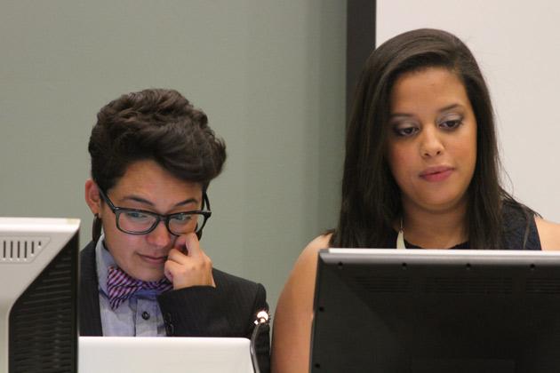 Graduate Student Emcees Jessica Valenzuela and Yalidy Matos.