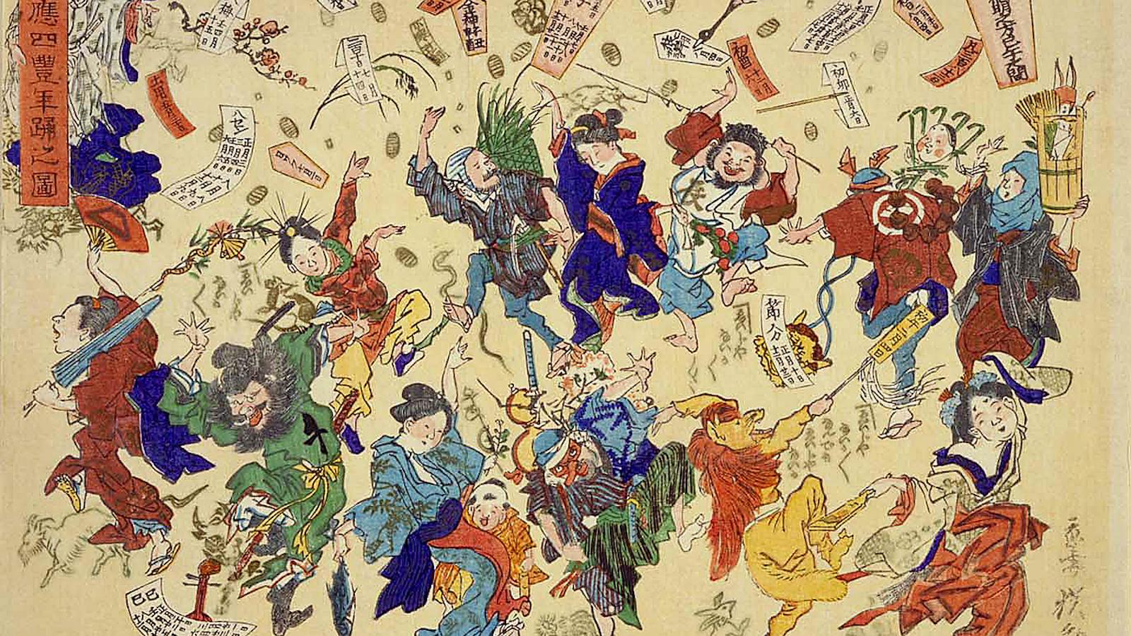 Painting of Edo carnival festivities, nineteenth-century Japan